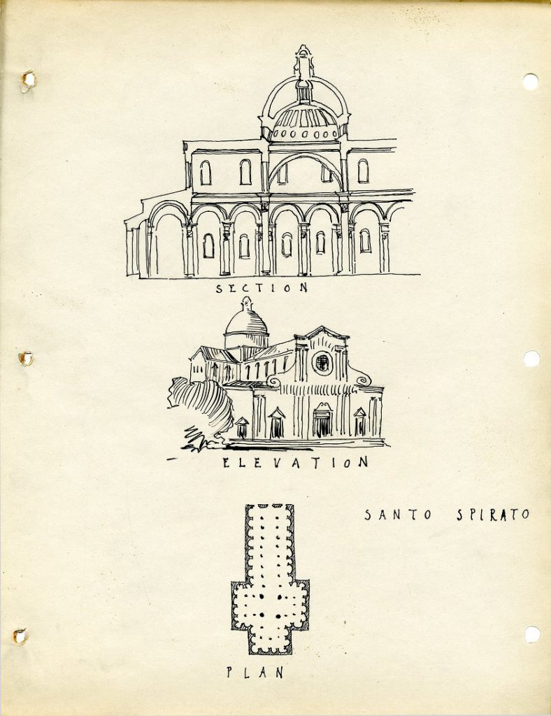 Church of Santo Spirito, architectural rendering by Warren Aubrey Chesterman, c. 1924