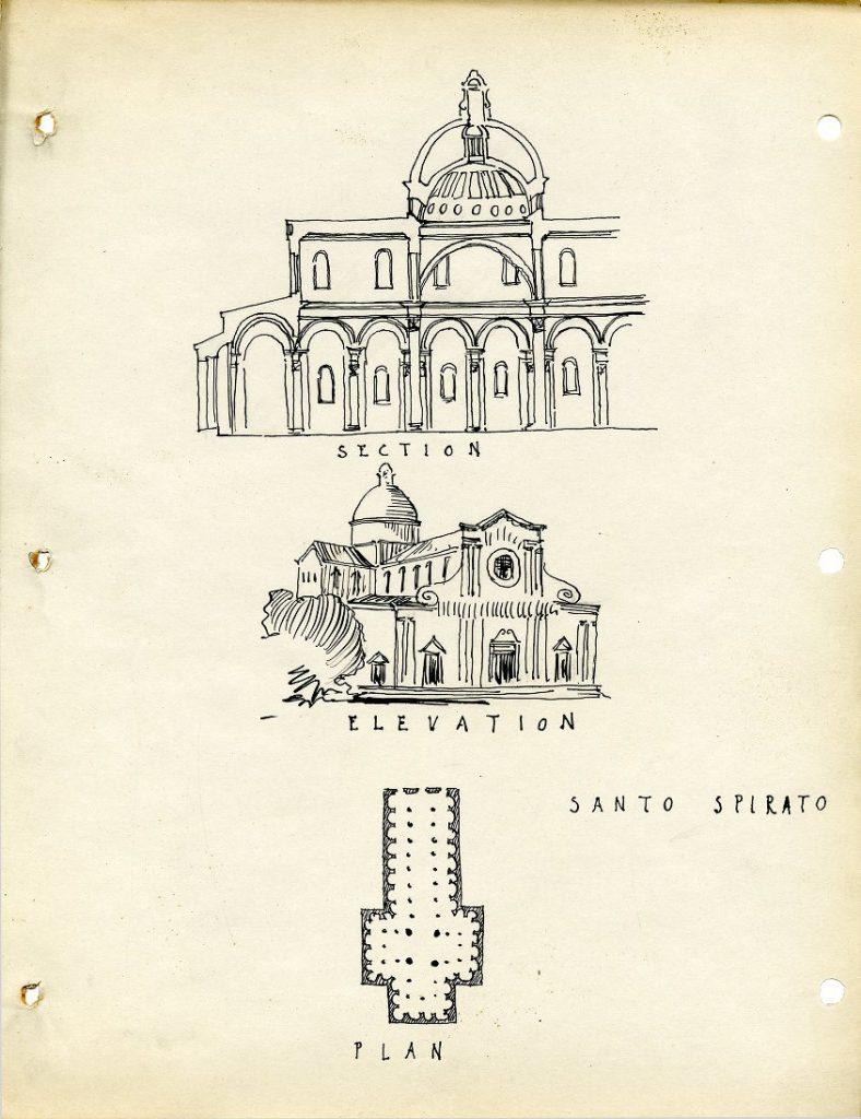 Church of Santo Spirito, architectural rendering by Warren Aubrey Chesterman, c. 1924