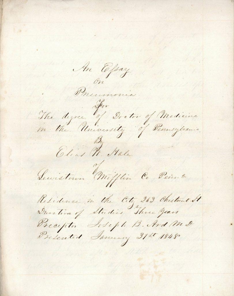 'An Essay on Pneumonia' by Elias White Hale, 1848