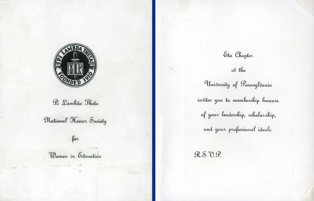 Pi Lambda Theta, membership invitation, 1948
