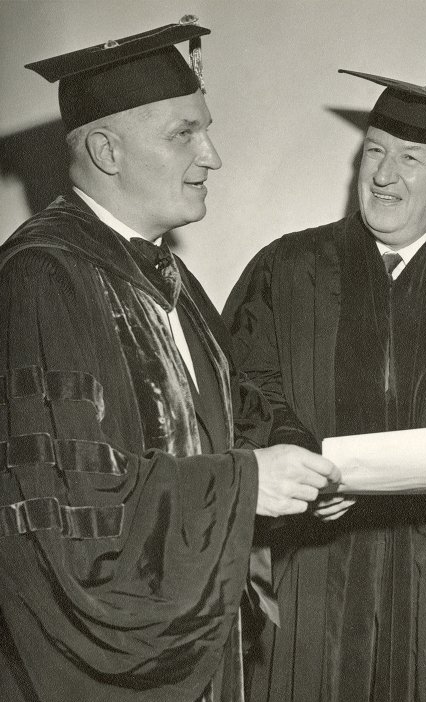 Robert Dechert receiving his honorary degree from Penn President Gaylord P. Harnwell, 1958
