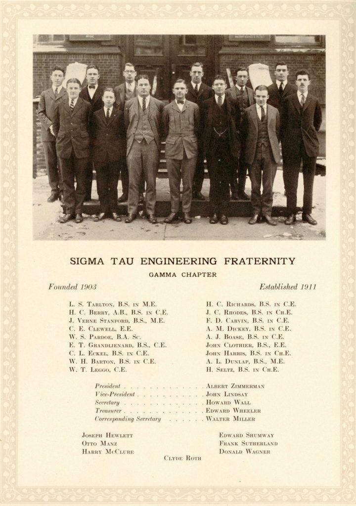 Sigma Tau engineering fraternity, 1923