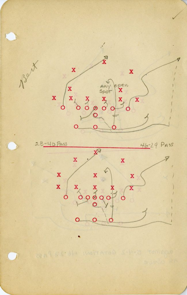 Page from football playbook belonging to Bernard Carl Kuczynski, c. 1941-1949
