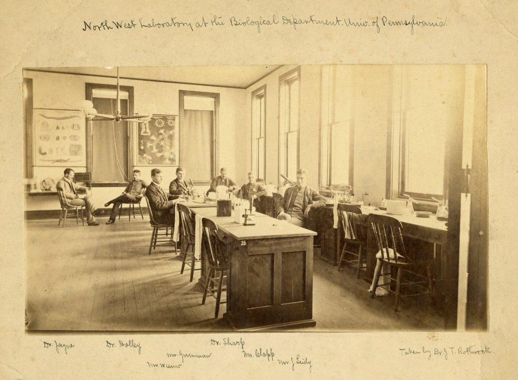Biological Hall, interior, faculty members in northwest laboratory, c. 1885