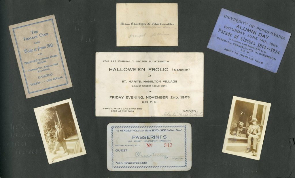 Charles A. Kelley scrapbook page, including invitations, program and photos, 1923-1924