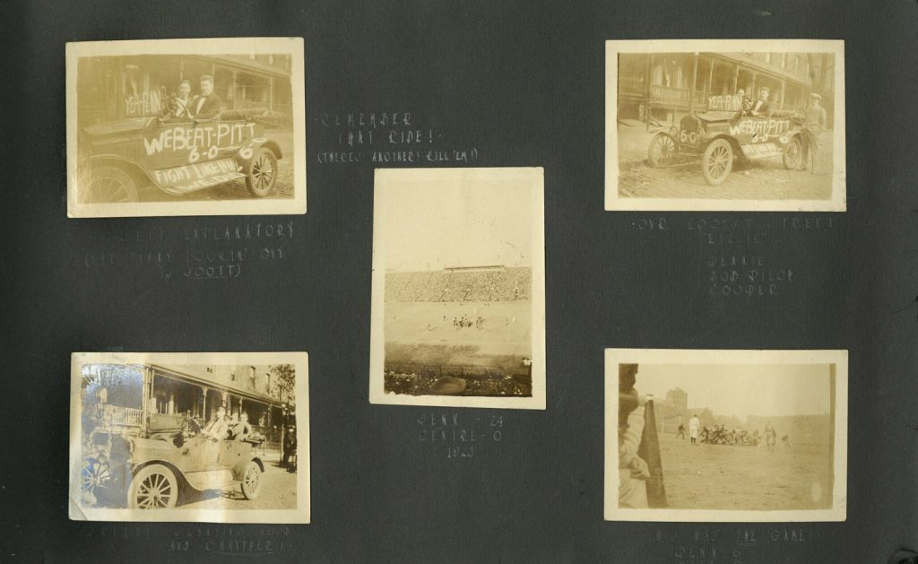 Charles A. Kelley scrapbook page, including 1924 Penn-Pitt game snapshots, 1924
