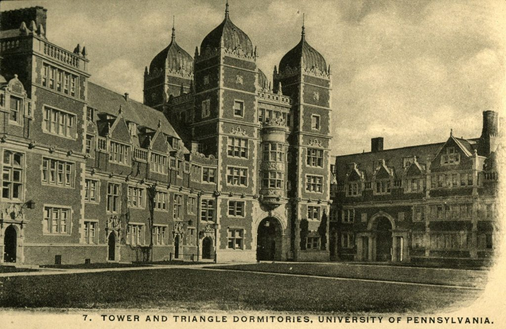 Dormitory Quadrangles, Memorial Tower and Triangle Dormitories in 'Upper Quad,' c. 1910