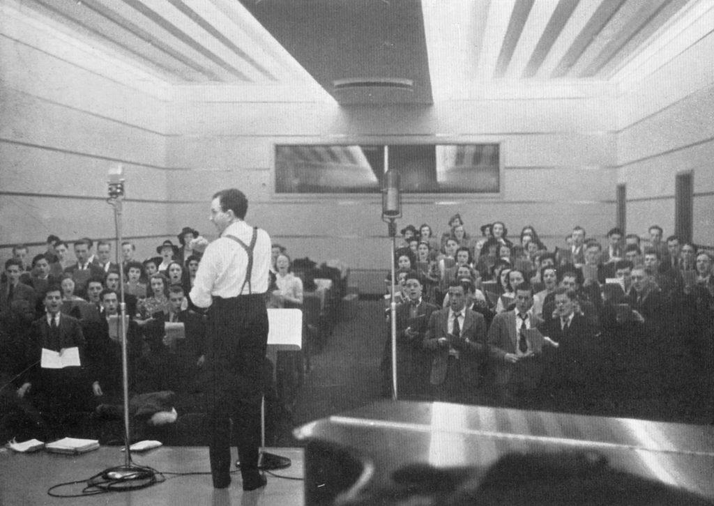 Harl McDonald conducting the University of Pennsylvania Choral Society, 1940