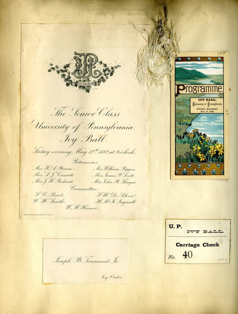 Scrapbook page of souvenirs from Ivy Ball, 1882
