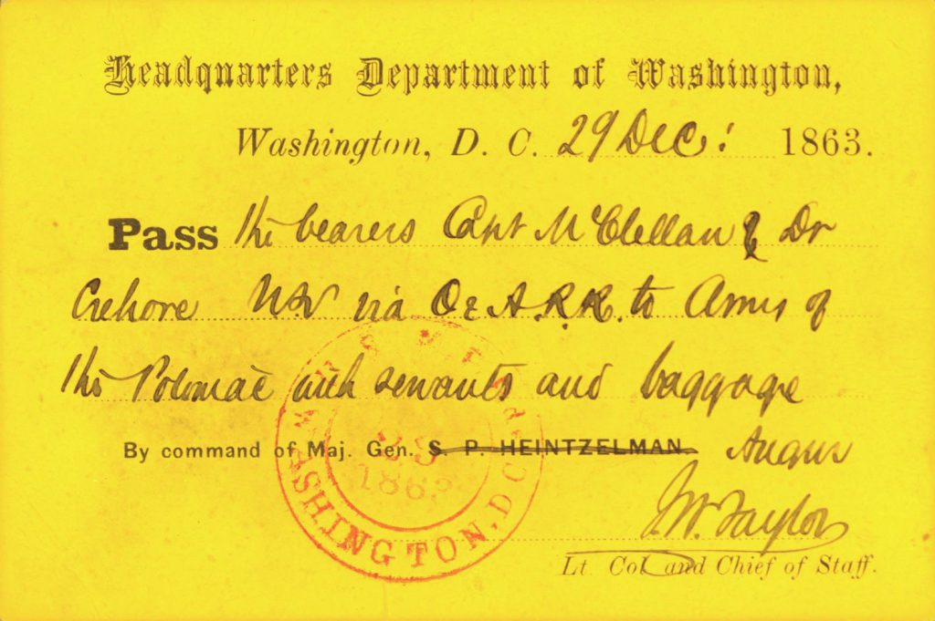 Military pass to Army of the Potomac, 1863