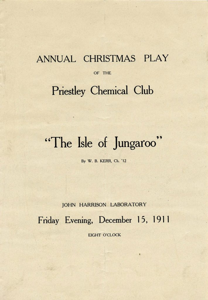 Priestley Chemical Club annual Christmas play, 1911