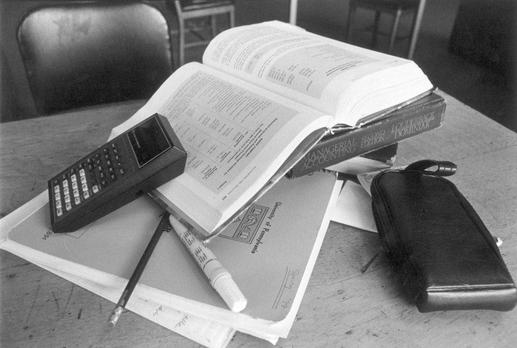 Wharton School, student desk, c. 1985