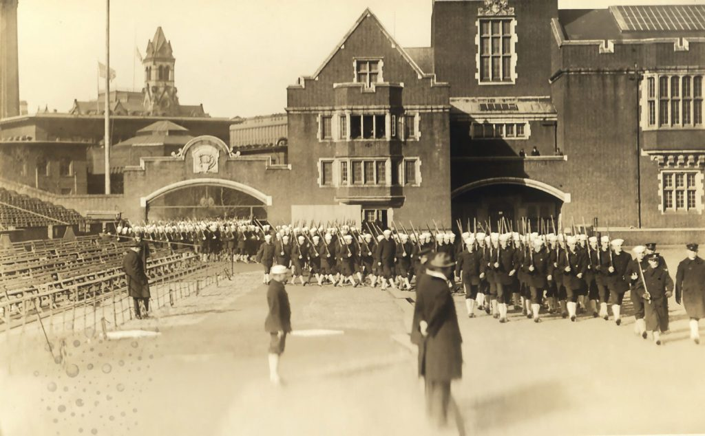 World War I, Student Army Training Corps, Naval Unit, drilling on Franklin Field, 1918
