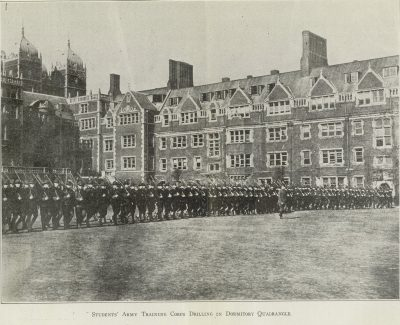 World War I, Student Army Training Corps drilling in Penn's Dormitory Quadrangle, c. 1917