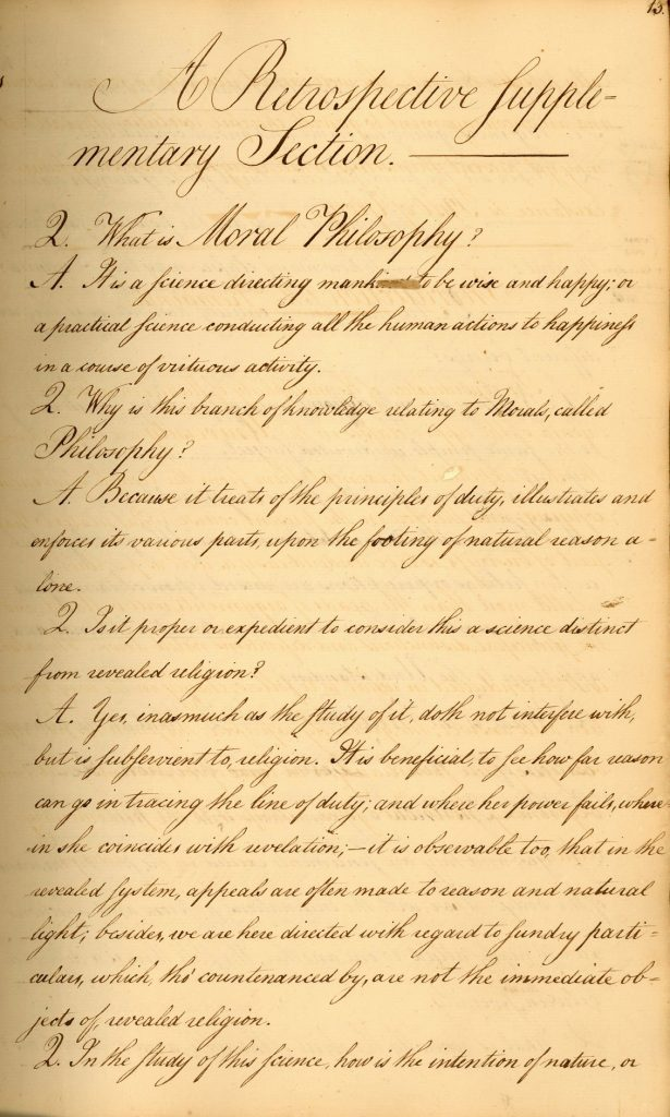 Joseph Clarkson, A.B. 1782, student notebook, 1783