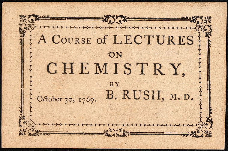 Admission ticket, Benjamin Rush's lectures on chemistry, 1769