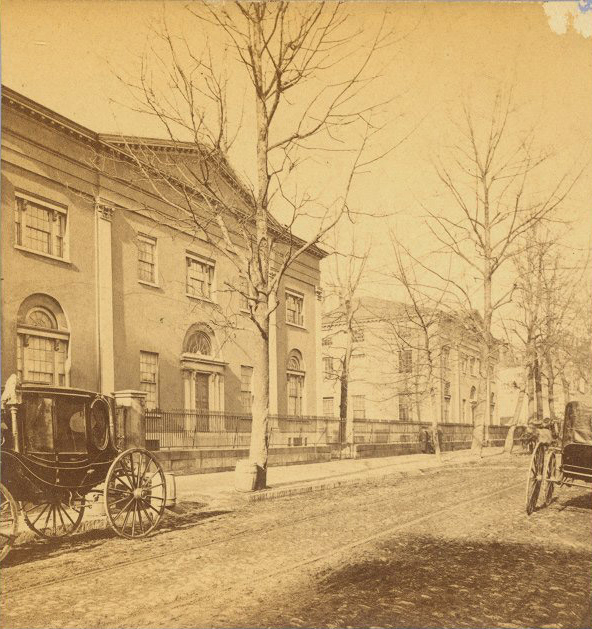 Ninth Street campus of the University of Pennsylvania, Medical Hall and College Hall, c. 1850