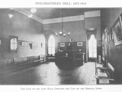 Philomathean Society meeting room in College Hall, c. 1913