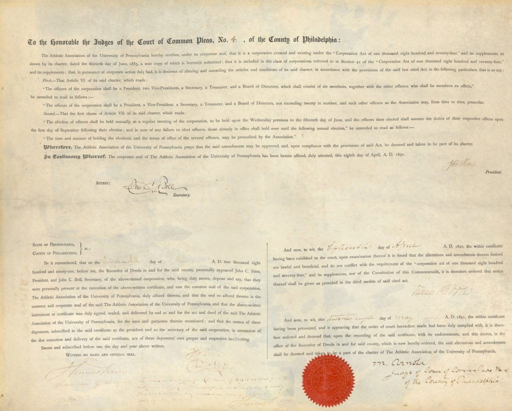 Charter of the Athletic Association of the University of Pennsylvania, 1891 amendment