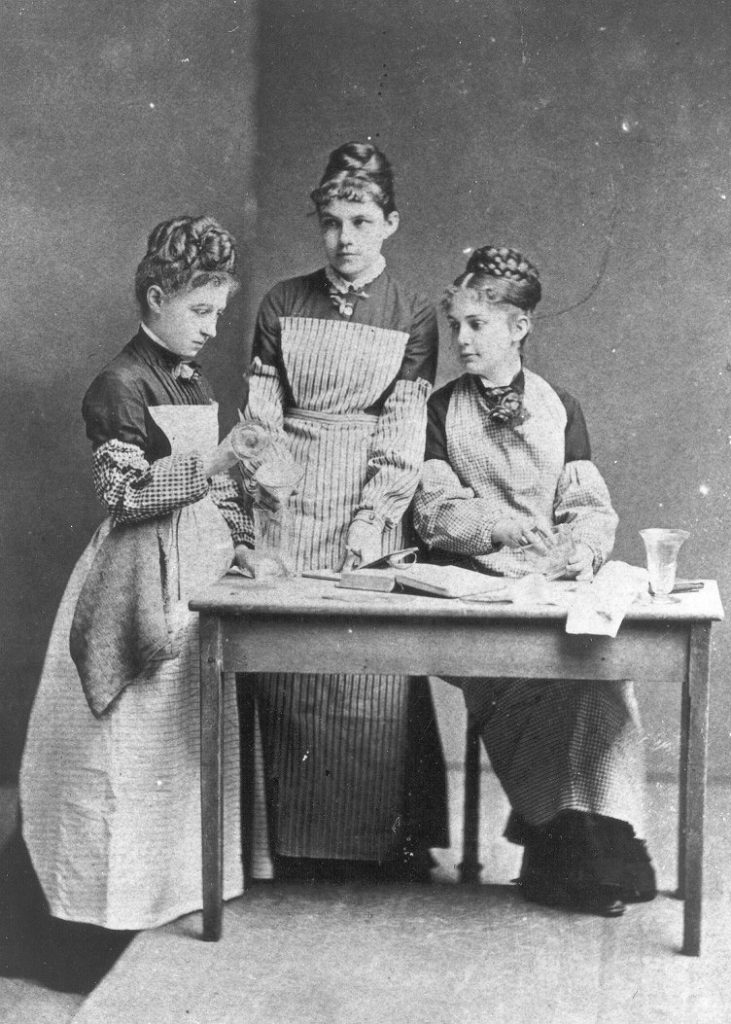 First women to matriculate at the University of Pennsylvania, working in the chemistry laboratory, 1878