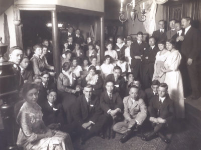 Christian Association, international students at a social gathering at home of Mr. and Mrs. Alpheus Waldo Stevenson, c. 1912