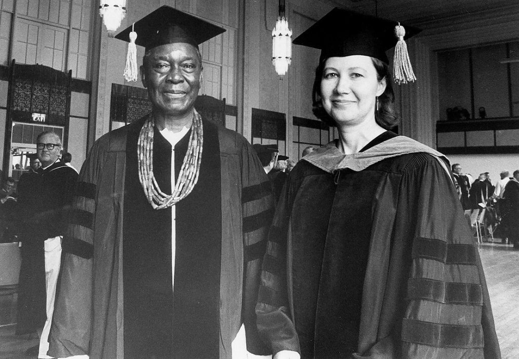 Honorary degree recipient, Nnamdi Azikiwe (Doctor of Humane Letters) with Professor Sandra Barnes, 1980