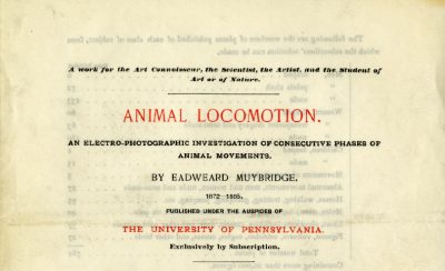 Muybridge's <em>Animal Locomotion</em> announcement, cover, 1887