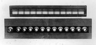 Eadweard Muybridge's Animal Locomotion study, battery of cameras, with plate holder, c. 1887