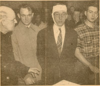 Rowbottom, student bandaged and arrested, 1940