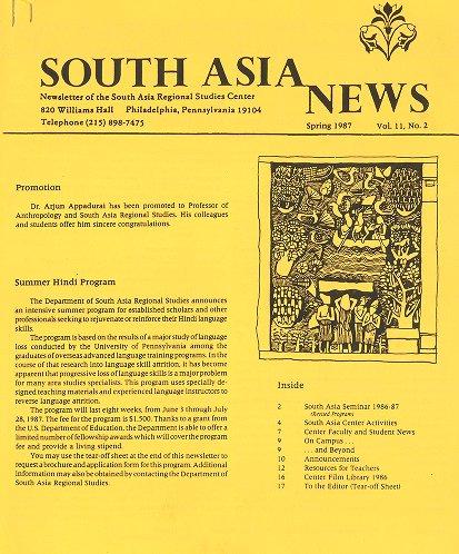 South Asia News, c.1987