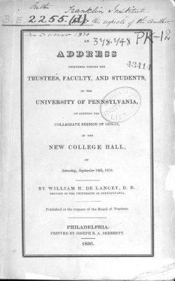 Provost William Heathcote Delancey Opening Address, 1830
