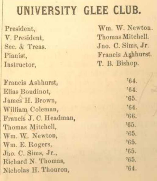 Glee Club members, 1863 yearbook