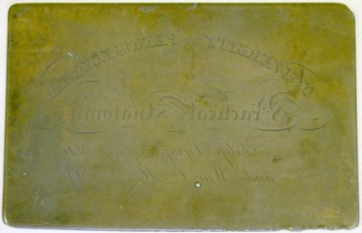 Figure 1. Printing plate used to make lecture tickets for admittance to Physick and Horner's course on practical anatomy, 1831. A ticket printed from this plate appears in the catalogue (80).