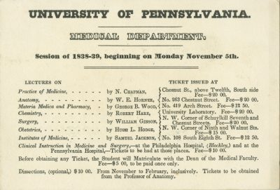 Figure 2. Fee schedule, University of Pennsylvania, 1838-39.