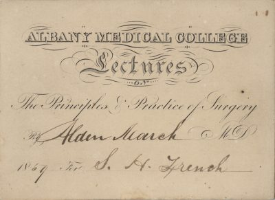Albany Medical College, medical lecture ticket, 1859