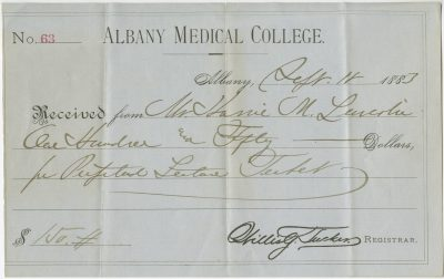 Albany Medical College, medical lecture ticket, 1883