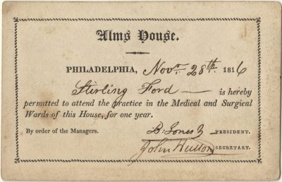 Alms House of Philadelphia, medical lecture ticket, 1816