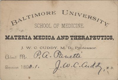 Baltimore University School of Medicine, medical lecture ticket, 1890-91