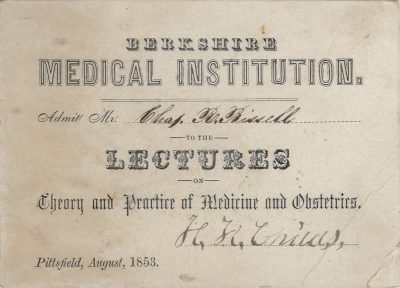 Berkshire Medical Institution, medical lecture ticket, 1853