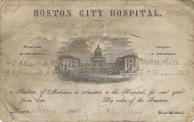 Boston City Hospital, medical lecture ticket, 1865
