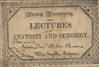 Brown University, medical lecture ticket, 1817