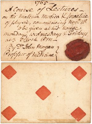 College of Philadelphia, John Morgan medical lecture ticket, 1765
