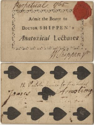 College of Philadelphia, William Shippen medical lecture ticket, 1765
