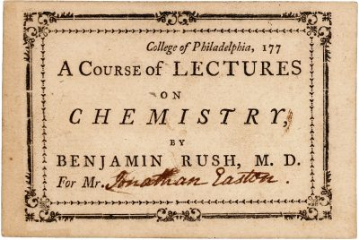 College of Philadelphia, medical lecture ticket, 1770