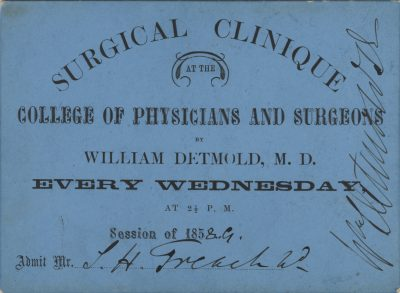 College of Physicians and Surgeons, University of the State of New York, medical lecture ticket, 1858-59