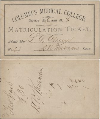 Columbus Medical College, medical lecture ticket, 1876-77