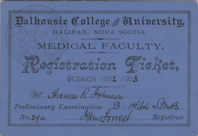 Dalhousie College and University, medical lecture ticket, 1902-03