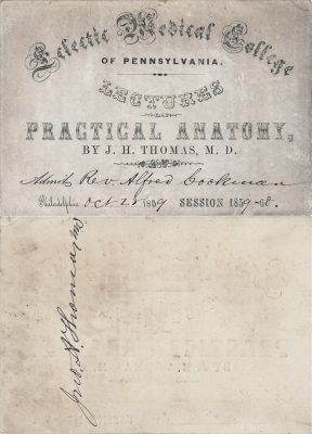 Eclectic Medical College of Pennsylvania, medical lecture ticket, 1859