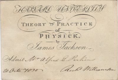 Harvard University, James Jackson medical lecture ticket, 1830