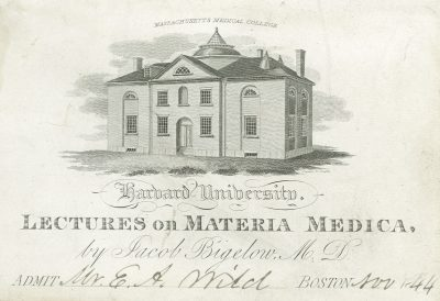 Harvard University, Jacob Bigelow medical lecture ticket, 1844